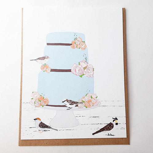 Birds on Blue Cake