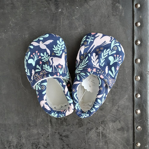 Baby Shoes- Navy Unicorns