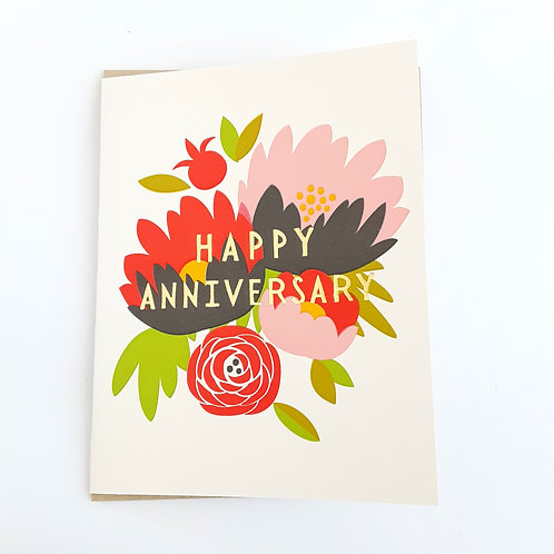 Happy Anniversary gold text on floral
