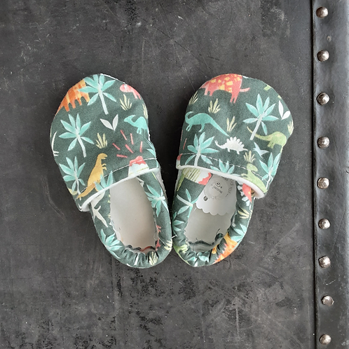 Baby Shoes- Green Dinos