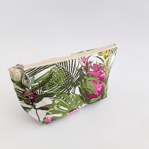 Cosmetic Bag- Tropical/White