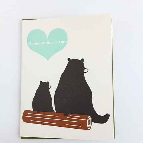 Happy Father's Day bears on log