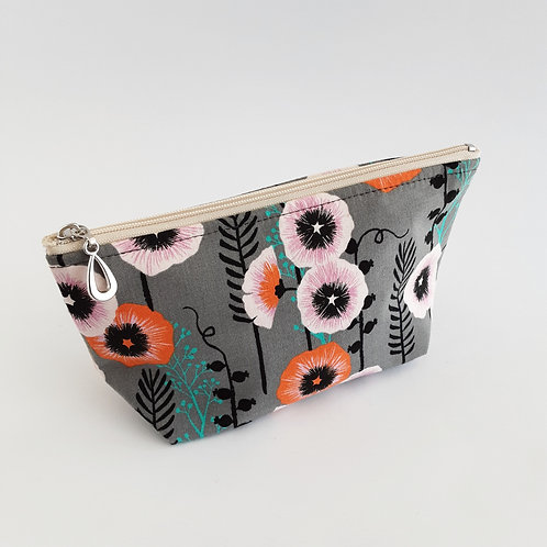 Cosmetic Bag- Poppies/Gray