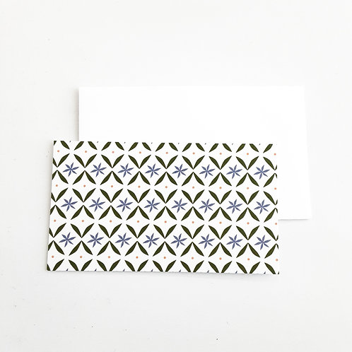 Mini Note Cards, Grid/Blue Flowers