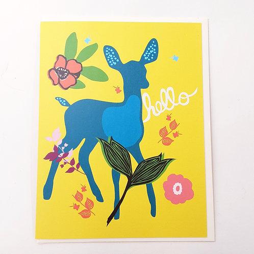 Hello deer on yellow