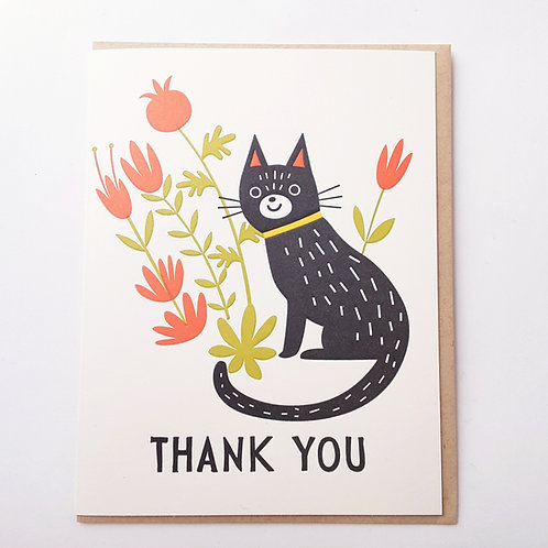 Thank You black cat, red flowers