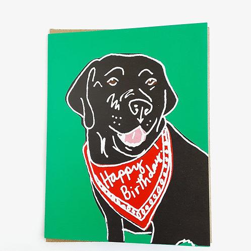 Happy Birthday black lab red bandana