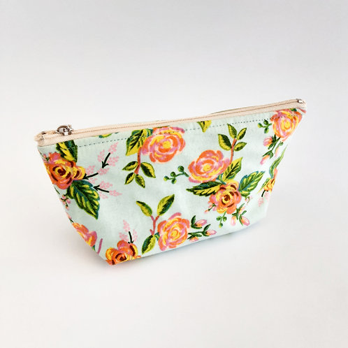 Cosmetic Bag- Roses/Light Blue