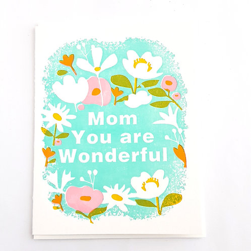 Mom You Are Wonderful floral on blue