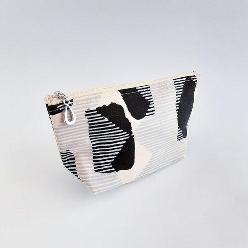 Cosmetic Bag- Black/Gray Stripe