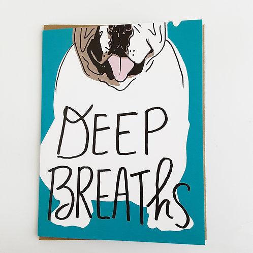 Deep Breaths dog on teal