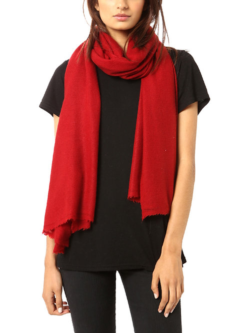 Vertou cashmere shawl in dark red