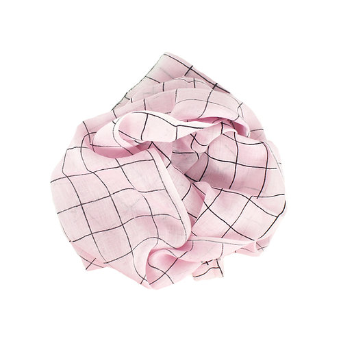 Pure linen scarf check pink/black