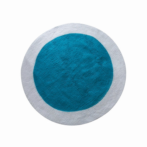 Spot round felt rug teal