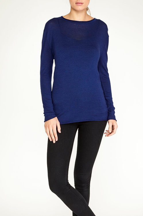 Essential Cashmere roll neck navy blue