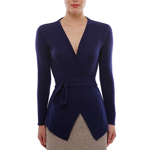 Cashmere belted open cardi in navy blue