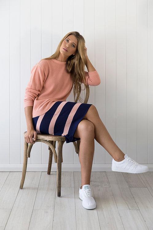 Cashmere rib sweater in peach