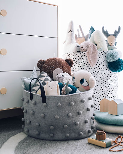 Grey felt basket