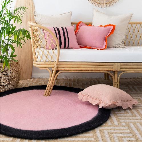 Spot round felt rug Pink