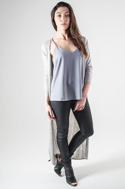 Cashmere maxi cardi in grey