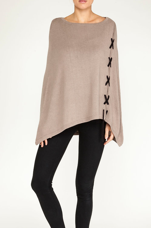 Cashmere cross detail poncho taupe