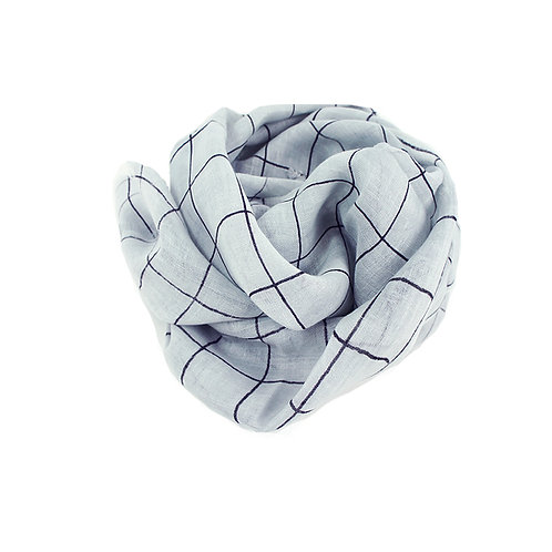 Pure linen scarf check grey/black