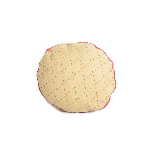 Kantha Round Cushion Walnut