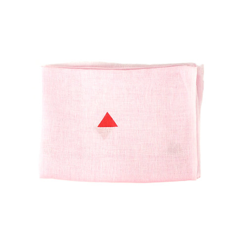 Pure linen scarf geo Pink/red