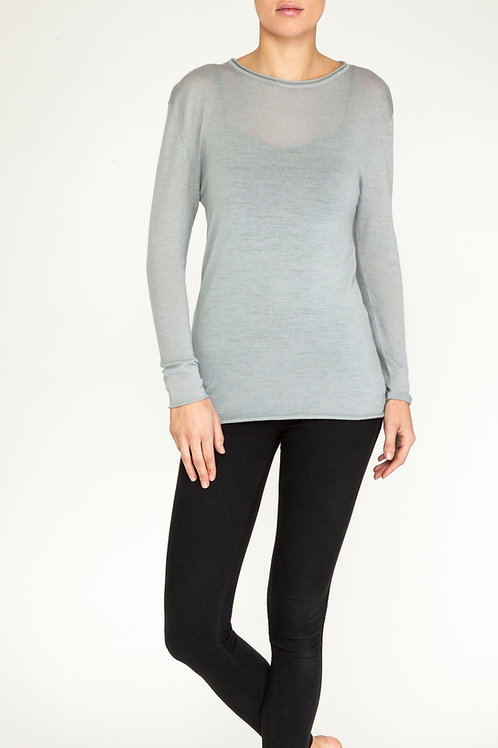Essential Cashmere roll neck top grey