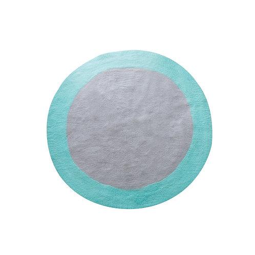 Spot round felt rug turquoise