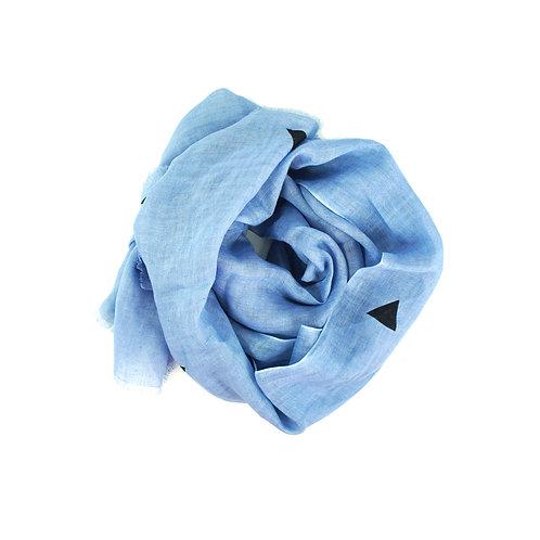 Pure linen scarf geo blue/black