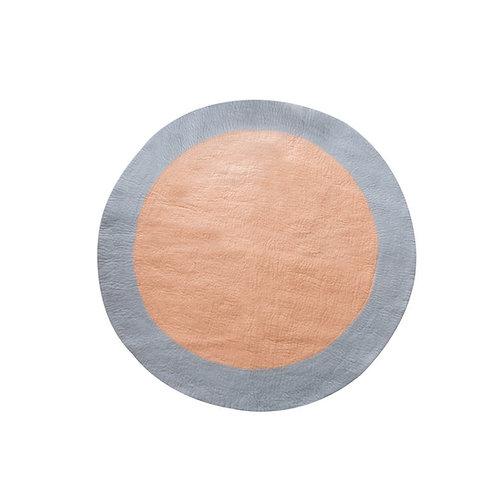 Spot round felt rug peach