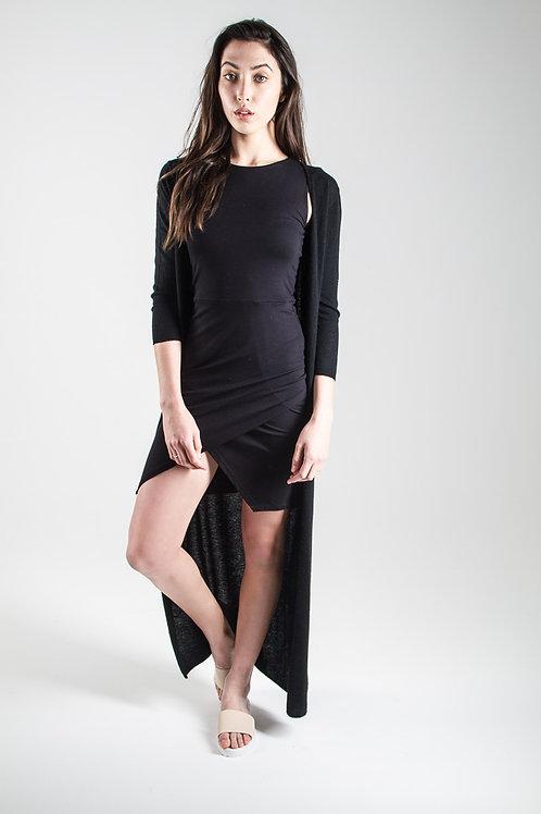 Cashmere maxi cardi in black