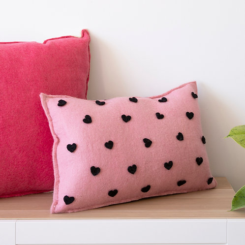 Hearts And Stripes Cushion Black