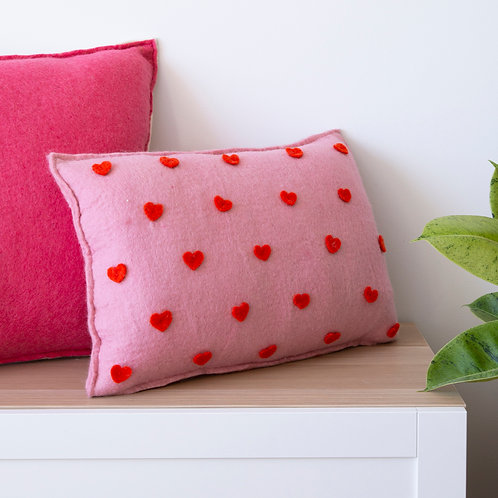 Hearts And Stripes Cushion  Tangelo