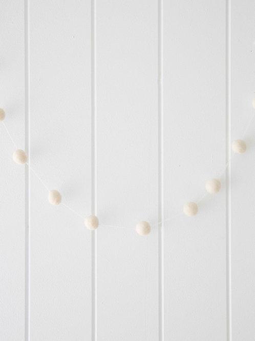 Felt ball garland ivory