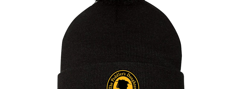 Black Embroidered Beanie One Size
