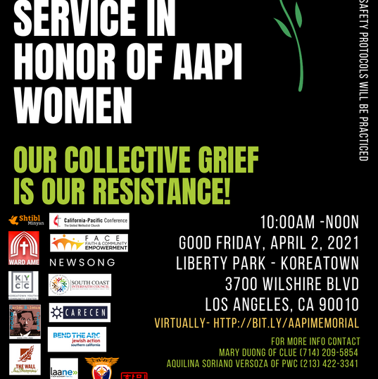 FACE President Hyepin Im to Speak at Memorial Service in Honor of AAPI Women Hosted By CLUE & Pilipino Workers Center & Other Collaborating Organizations