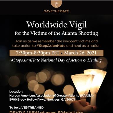 Worldwide Vigil for Victims of Atlanta Massacre