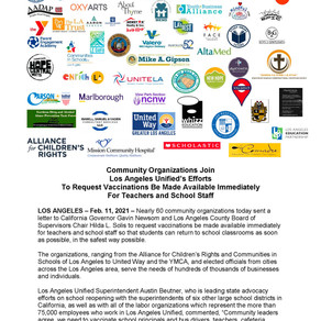 Letter Urging Governor Newsom to Give Vaccine Priority to School Staff