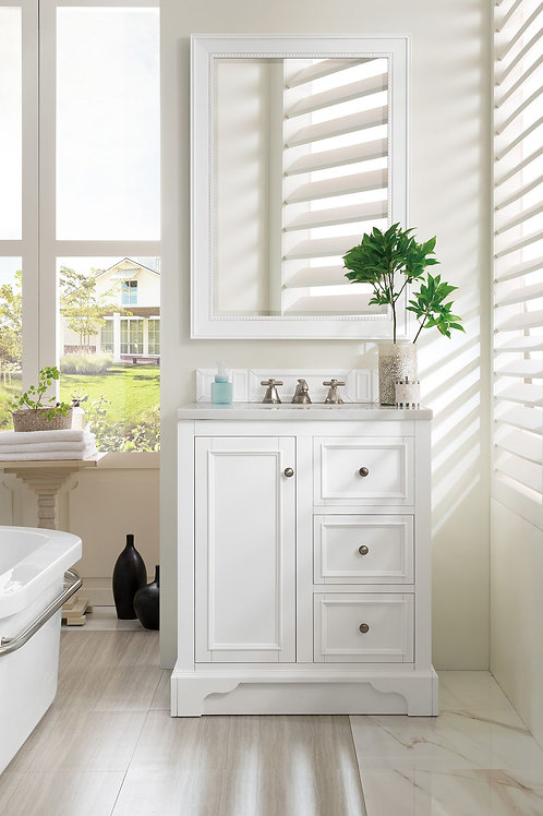 """De Soto 30"""" Bright White Single Vanity with Arctic Fall Solid Surface"""
