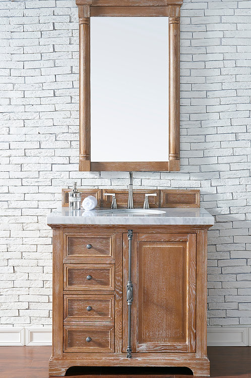 "Providence 36"" Driftwood Single Vanity with Carrara White Marble"
