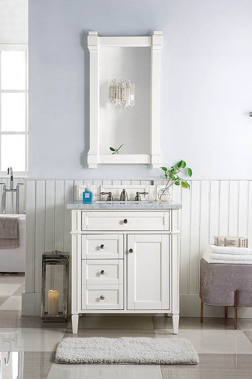 """Brittany 30"""" Cottage White Single Vanity with Carrara White Marble"""