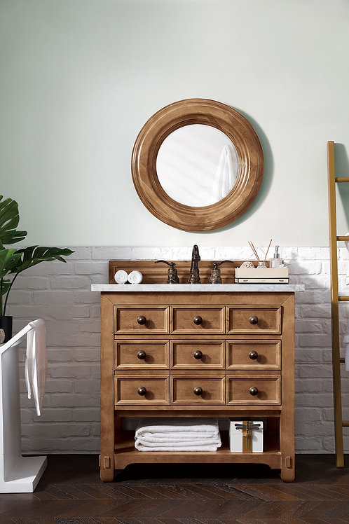 "Malibu 36"" Honey Alder Single Vanity with Carrara White Marble"