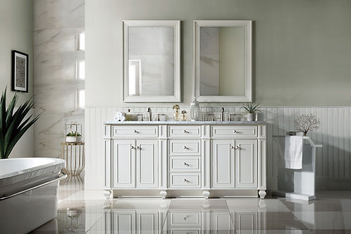 """Bristol 72"""" Cottage White Double Vanity with Carrara White Marble"""