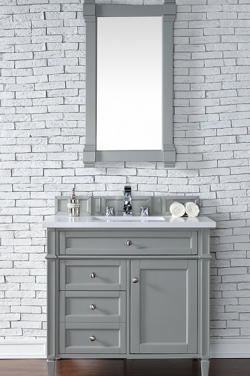 "Brittany 36"" Urban Gray Single Vanity in Classic White Quartz"