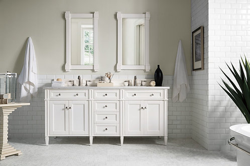 "Brittany 72"" Cottage White Double Vanity in Arctic Fall Solid Surface"