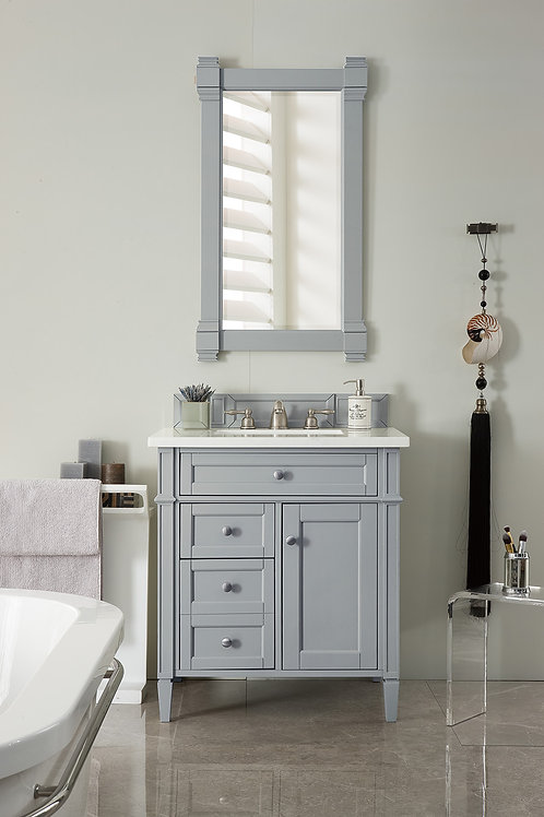 "Brittany 30"" Urban Gray Single Vanity with Carrara White Marble"