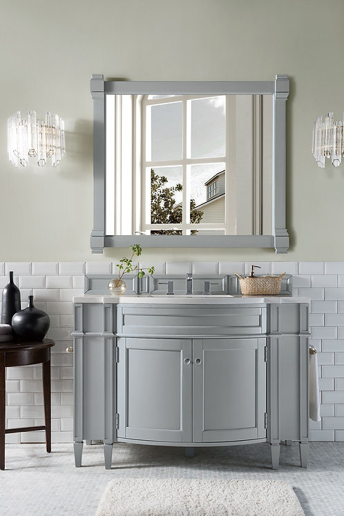 "Brittany 46"" Urban Gray Single Vanity with Arctic Fall Solid Surface"