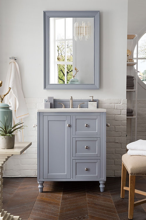 """Copper Cove Encore 30"""" Silver Gray Single Vanity with Arctic Fall Solid Surface"""